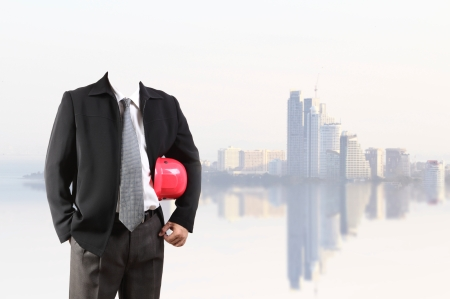 businessman  with new big city background and business strategy as concept